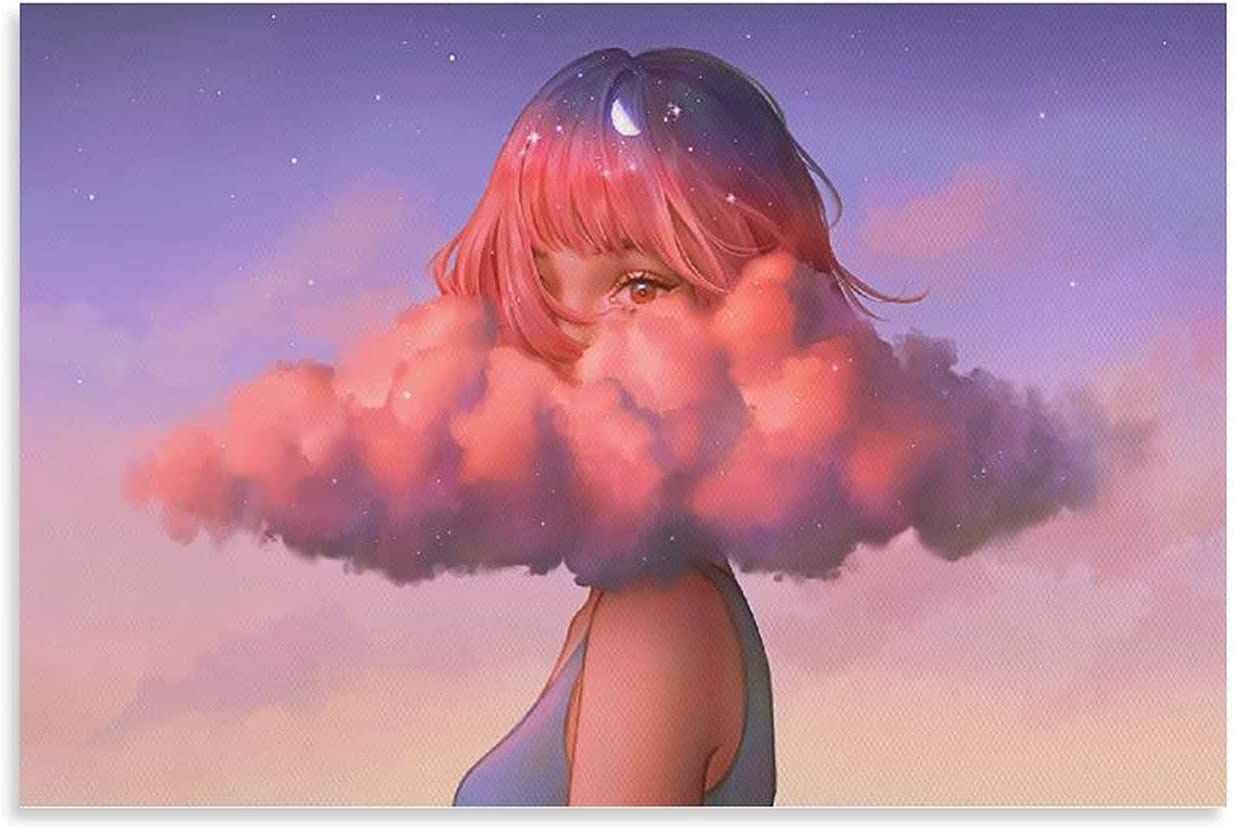 YuFeng_Art_Inn Artwork Women Clouds Space Karmen LOH Fantasy Art Pink Clouds Half Moon Tars Canvas Art Poster and Wall Art Picture Print Modern Family Bedroom Decor Posters 16×24inch(40×60cm)