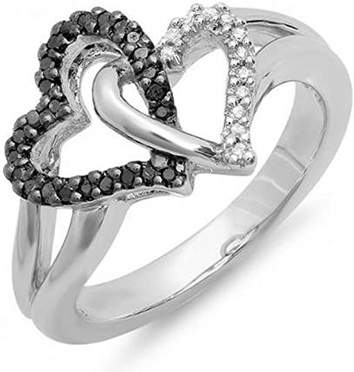 Halo Heart Promise Ring Heart Pink CZ Round Simulated Diamond Black Gold 925 Sterling Silver Infinity Twist Shank