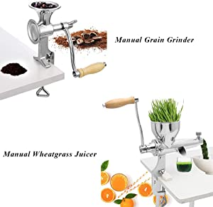 Moongiantgo Manual Grain Grinder + Manual Wheatgrass Juicer All Stainless Steel