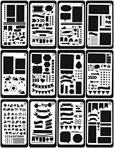 Bullet Journal Stencil,GEOTEL Easy Placement Light Ultra Thin Semitransparent Plastic Planner Stencils Journal/Notebook/Diary/Scrapbook DIY Drawing Template Stencil 4x7 Inch, 12 Pieces