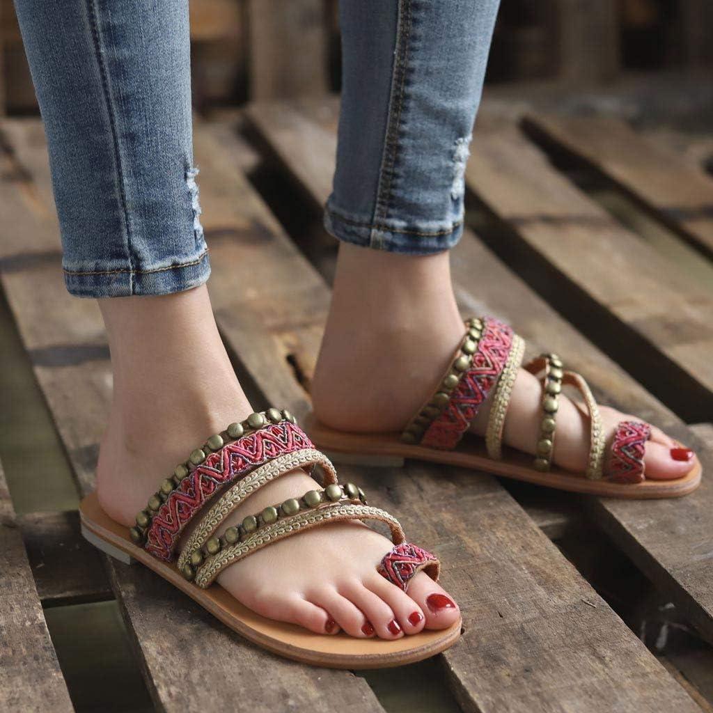 Bohemian Flat Sandals,Womens Open Toe Sandals Size 9 Women Summer Sandals Slipper Indoor Outdoor Flcip-Flops Beach Shoes