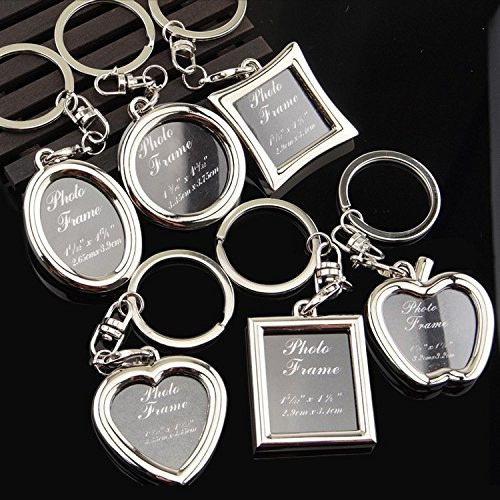 (Chris.W Fashion Keychain with Locket Photo Frame - Pack of 6 , Varity of Style - Insert Picture Frame Key Ring Key Holder - Great Gift Idea)