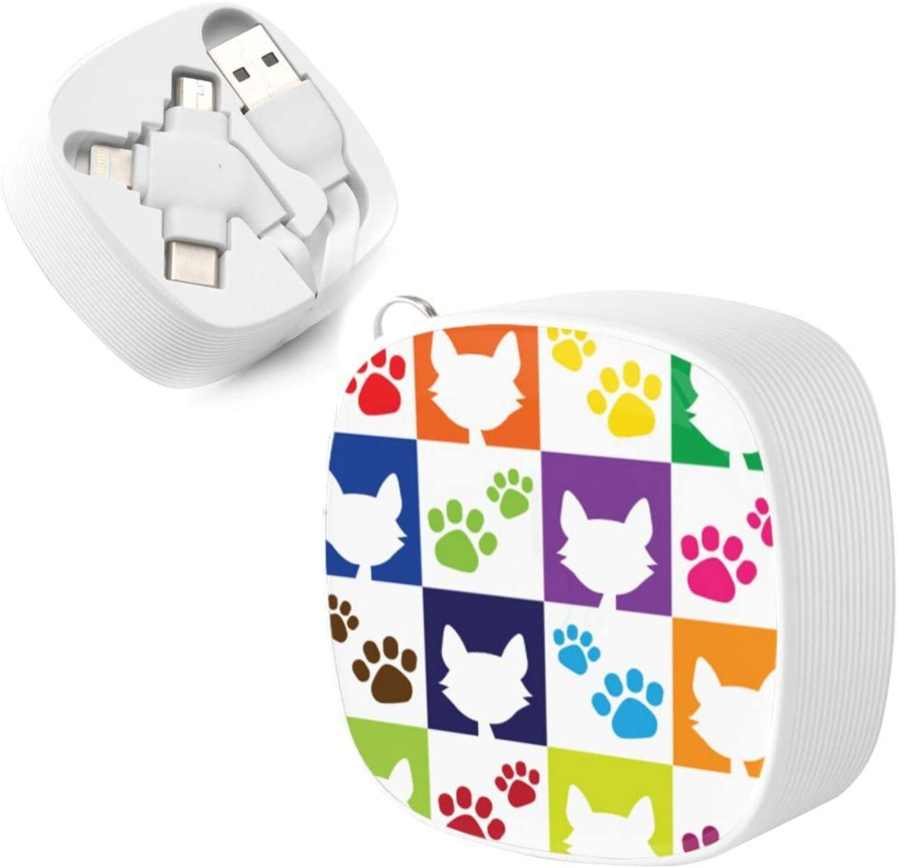 Funny Catsthe Square Three-in-One USB Cable is A Universal Interface Charging Cable Suitable for Various Mobile Phones and Tablets