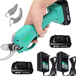 Professional 21V Cordless Electric Pruning Shears with 2 Pack Backup Rechargeable Battery Powered Garden Tree Branch Pruner Trimmer for Gardening, Crafting - Heavy Duty, 30mm Branch Cutter Cordless