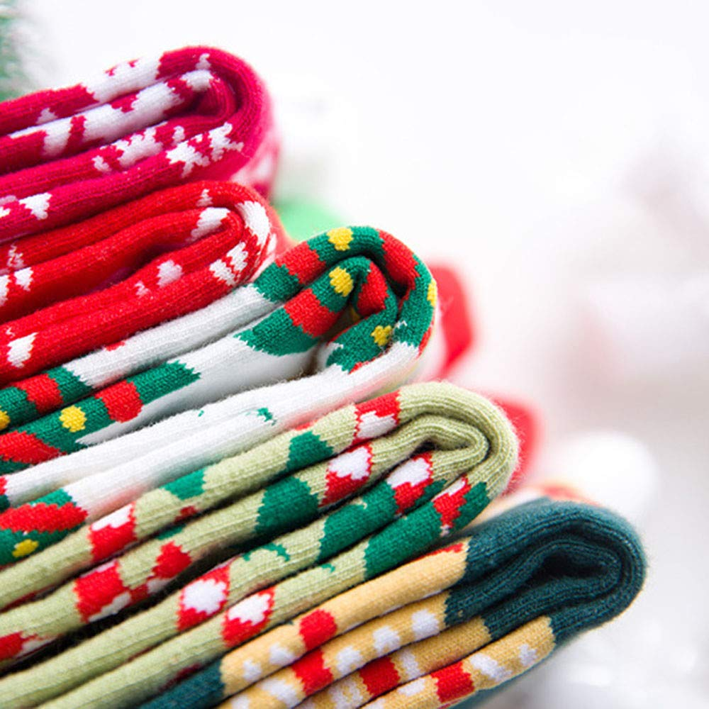 Christmas Long Socks,Women Cotton Xmas Tree Multi-Color Printed Leg Warmer Winter Warm Socks (Free Size, D) by Leewos (Image #6)