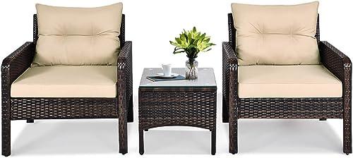 Tangkula 3 Piece Outdoor Patio Furniture Set