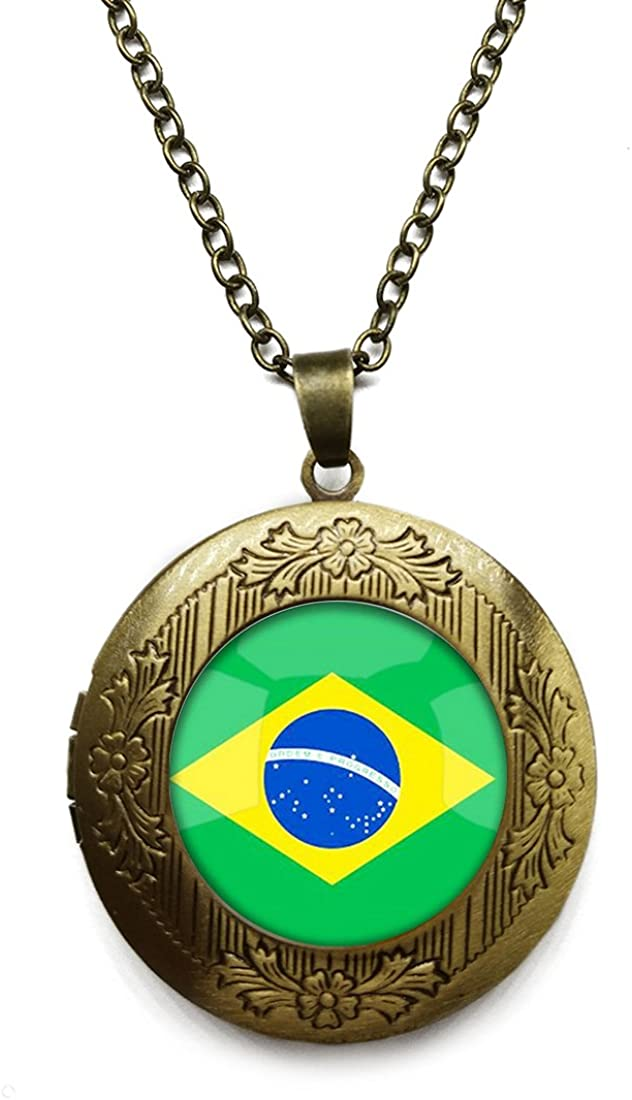 Vintage Bronze Tone Locket Picture Pendant Necklace Republic of Singapore Nigeria National Flag Included Free Brass Chain Gifts Personalized