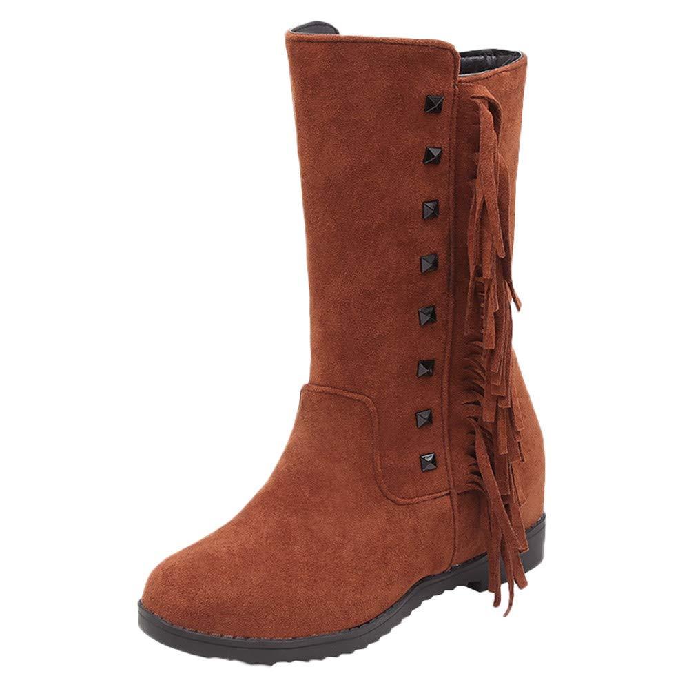 LuckyGirls Cuñ as Botas para Mujer Flecos Remaches Botines Moda Botas Casual Calzado Zapatillas de Suela Gruesa Zapatos Aumento Interno 3cm