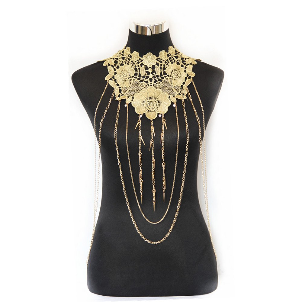 JoJo&Lin Gold Flower Lace Fine Chain Body Chain Bikini Summer New Arrival (B)