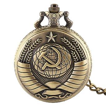 Uhren Steampunk Sowjet Sichel Und Hammer Design Vintage Taschenuhr Anhänger Clcok Mit Halskette Antike Russland Tag Geschenke Für Männer Frauen