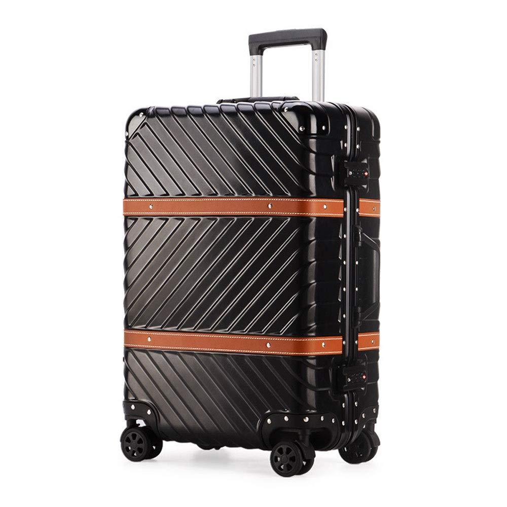 男性と女性のビジネスパスワード搭乗スーツケースのためのアルミフレームアンチスクラッチキャスタートロリーケース (Color : ブラック, Size : 24 inch(62x42x26cm))   B07QZRDYVT