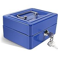 Caja Fuerte Portátil Cajas de caudales Caja de Dinero Pequeña con Cerradura de Llave, Caja de Seguridad Portátil de Almacenamiento de Monedas de Metal de Doble Capa