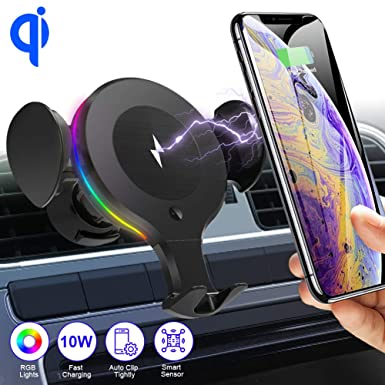 SHSTFD Wireless Car Charger Mount, 10W 7.5W 5W Qi Auto Clamping Fast Car Charger Holder, Air Vent Phone Holder Compatible with iPhone 11 X XR Xs Xs Max 8 8 Plus, Samsung S5 S6 S7 S8 S9 Edge , Note 7