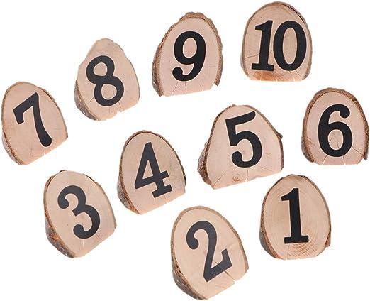 toyvian números mesas de madera para Boda 0 – 10 Tarjetas de mesa ...