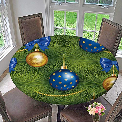 (Mikihome Luxury Round Table Cloth for Home use Realistic Christmas Tree Seamless with Traditional Cyan and Gold Christmas Ball,Bow for Buffet Table, Holiday Dinner 35.5