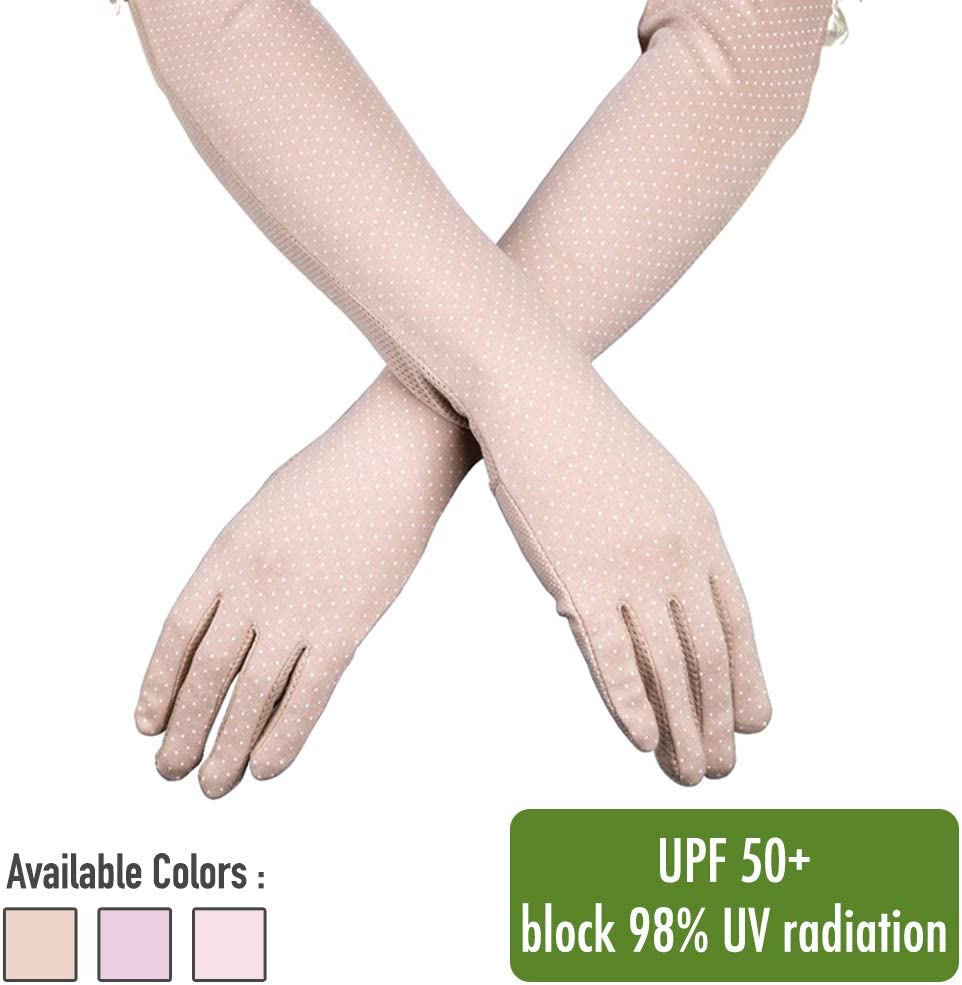"""Comfecto UV Sun Protection Women's Gloves UPF 50+ with Breathable Cotton Material and 21.7"""" Long for Outdoor Sports Summer Activity Evening Party, Khaki"""