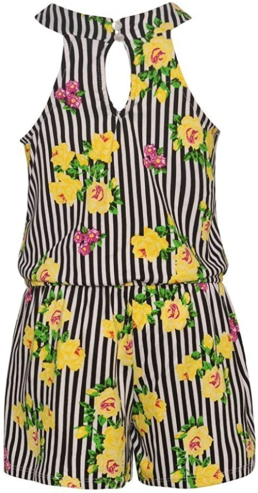 Little Girls Black Stripe Floral Print Ruffle Trim Sleeveless Romper 4-6X
