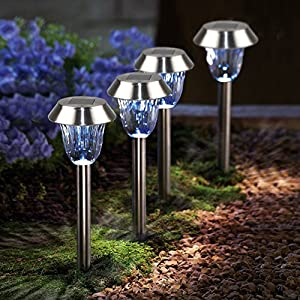 LED Solar Pathways Lights Drunze 4 Pack Stainless Steel Outdoor Landscape Lighting,Low Voltage Waterproof Garden,Yard,Walkway,Driveway,Patio Decoration Stake Light
