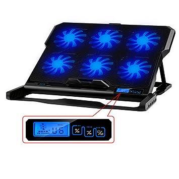 Soporte para portátil para ordenador portátil, Super silencioso ventilador de 6 ventiladores para portátil y