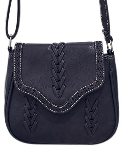 62fb4574ee15 Women s PU Hobo Crossbody Shoulder Sanddle Bag Flap Messenger Bag with  Lacing Black
