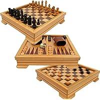 Trademark Games Juego 7 en 1 de lujo – ajedrez, chequeros, backgammon y más, color café