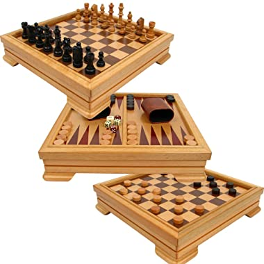 Trademark Games Deluxe 7-in-1 Game Set - Chess, Checkers, Backgammon and More, Brown