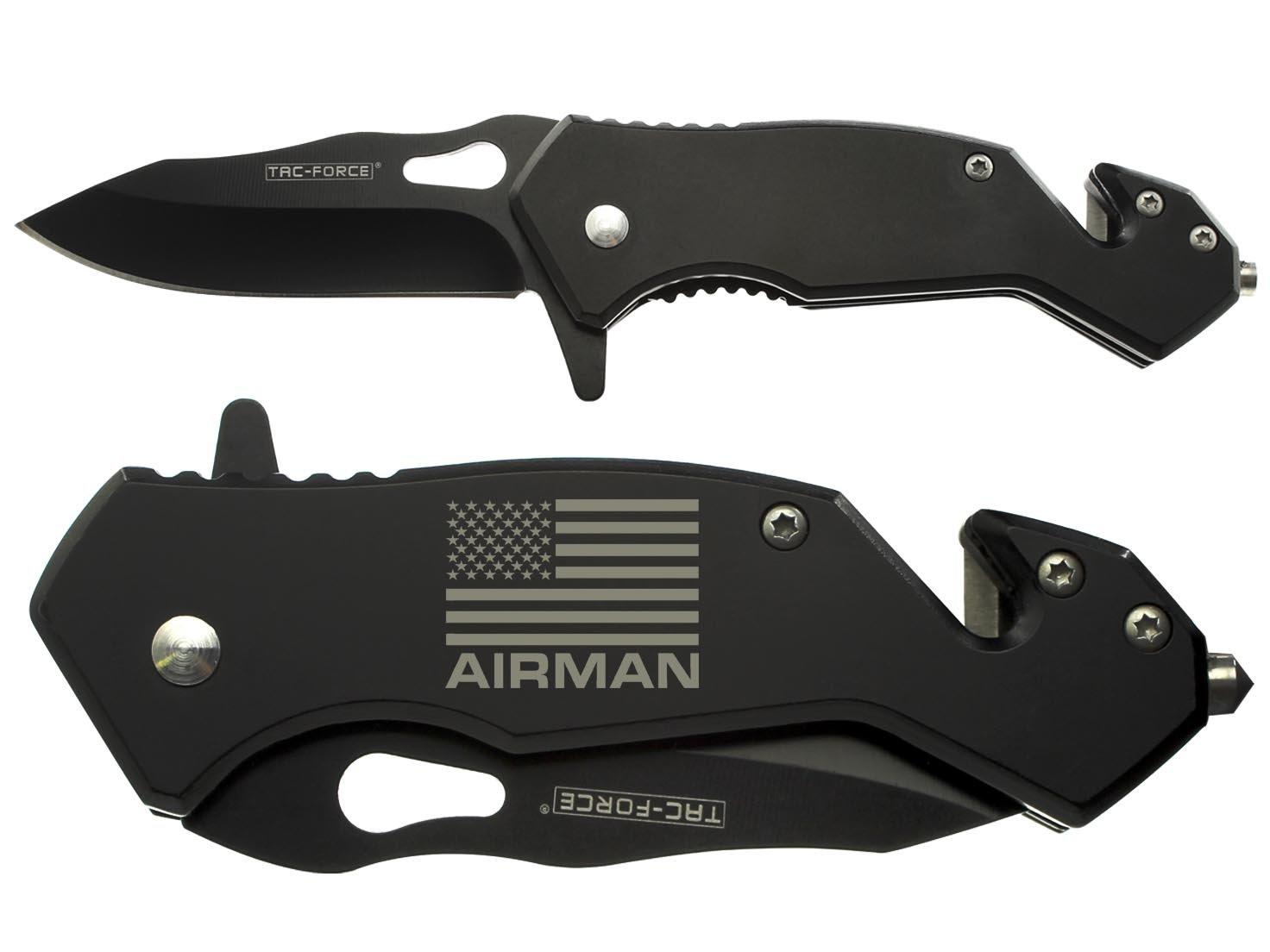 NDZ Performance Tac-Force 6.5'' Tactical Rescue Folding Knife Glass Breaker Seat-Belt Cutter 903BK Compact Black Us Flag Air Man 001