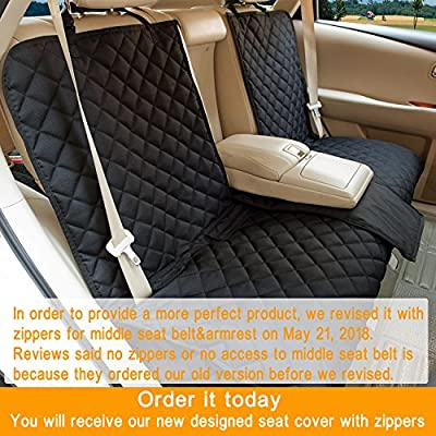 YESYEES Waterproof Dog Car Seat Covers Pet Seat Cover Nonslip Bench Seat Cover Compatible for Middle Seat Belt and Armrest Fits Most Cars, Trucks, SUVs