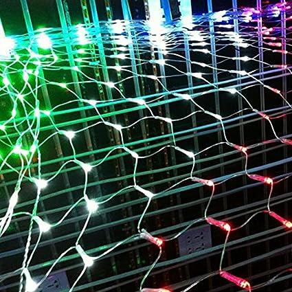 HJ® LED Lichternetz 204er Leds mit Stecker 230v Weihnachten Lichterketten und 8 Programm für Party, Garten, Weihnachten, Halloween, Hochzeit, Beleuchtung Deko 2M x 2M Warmweiß hejun