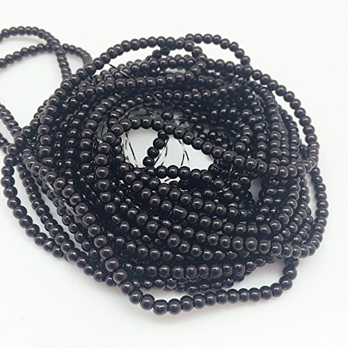 PEPPERLONELY Brand 5 Strands (About 54Grams 1150 PC) Black Glass Pearl Round Beads, 3mm(1/8 -