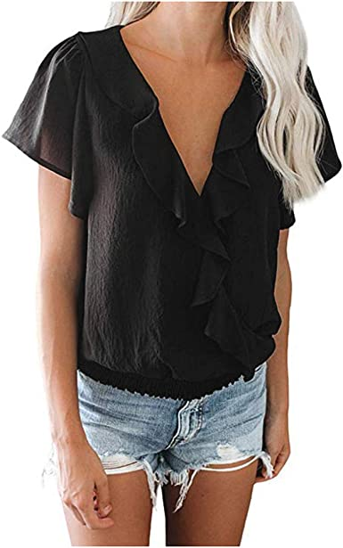 Blouses for Womens Hosamtel 2020 Casual Crewneck Short Sleeve Loose Pullover Tunic Tops Side Split Plain Shirts