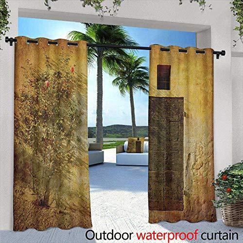 Italian Artistic Jewelry - LOVEEO Rustic Outdoor Curtains Historical Artistic Italian Door of Stone House Mediterranean Picturesque Heritage Waterproof Patio Door Panel 84