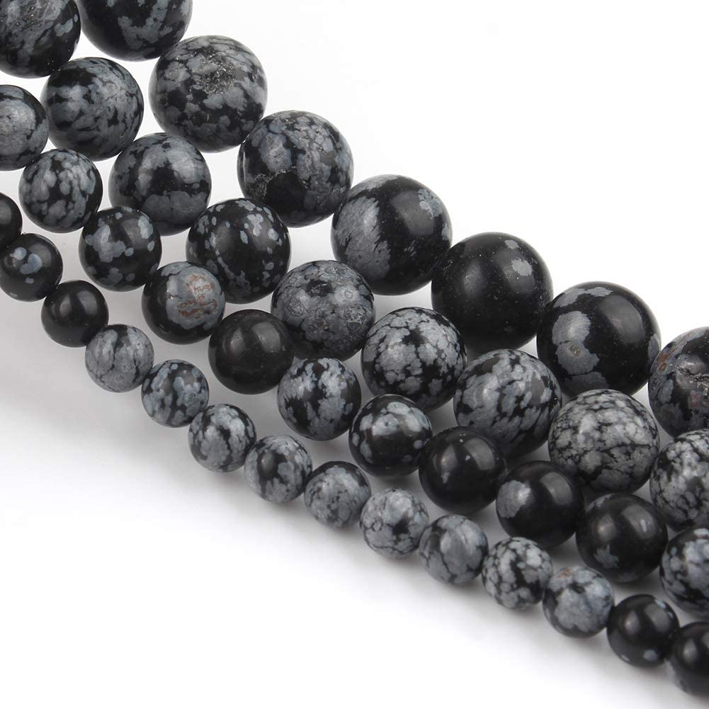 Yochus 8mm Black Hematite Round Loose Beads Natural Stone Beads for Jewelry Making
