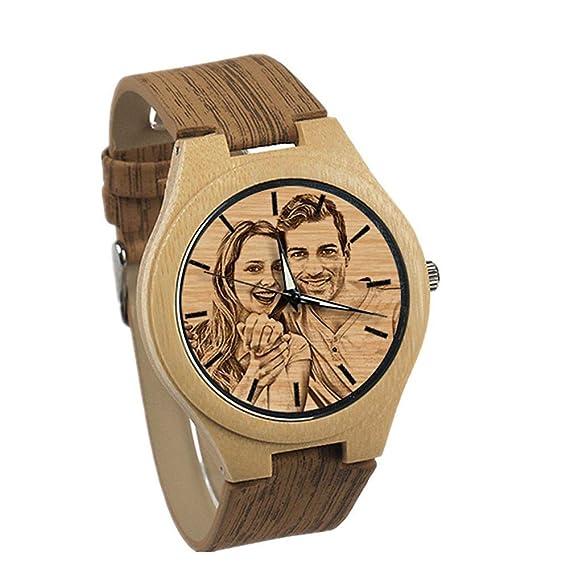 9552929a Relojes Personalizados de Madera Grabados para Hombres. Reloj de Madera  Natural. Regalo Personalizado de Navidad para Hombres.: Amazon.es: Relojes