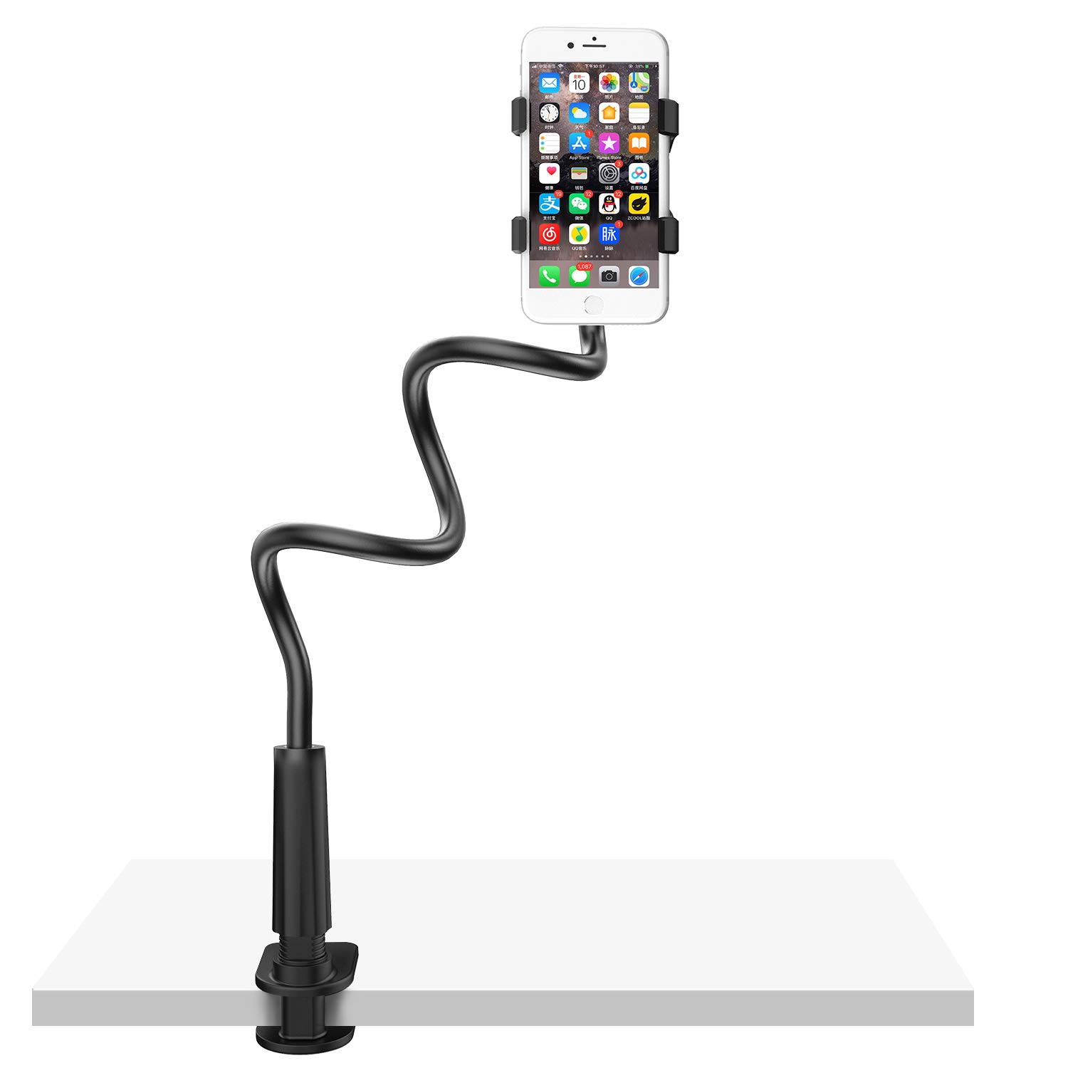 Gooseneck Cell Phone Holder Bed, Lazy Bracket, Universal Mobile Phone Clip Stand, Flexible Long Arm Rotating Mount for for Bed, Office, Kitchen, iPhone, pad, Watching Movies by Alimu