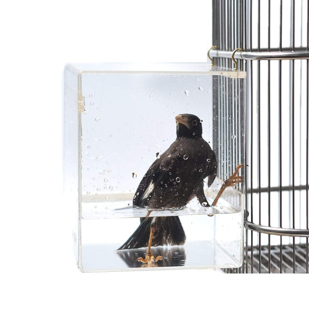 YAMII Acrylic Bird Bath Water-Tight Design, Bird Accessory Easy Installation, with Metal Universal Clips to Attach to Most Birdcage