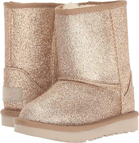 UGG Girls' T Classic Short II Glitter Fashion Boot, Gold, 12 M US Little Kid ()