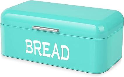 Flexzion Caja de metal para pan del estilo vintage para almacenar pan casero, Panera para encimera de cocina y refrigerador, Contenedor de pan para ...