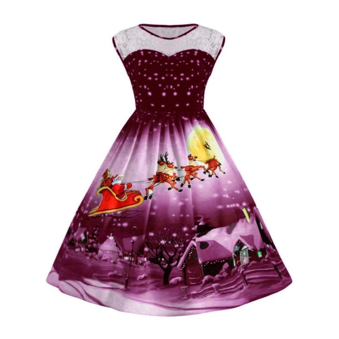 Women Christmas Dress Plus Size Mingfa Xmas 3D Printing Vintage Elegant Sleeveless A-Line Party Evening Swing Dresses (5XL, Purple 1) Mingfa.y