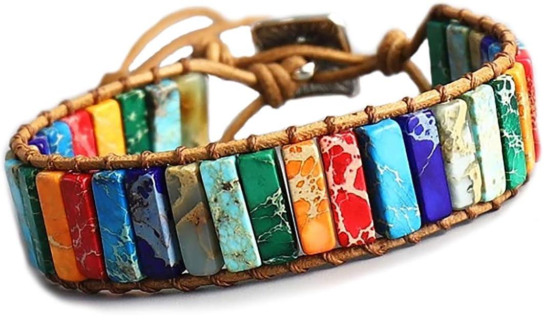 STYLE4-NATURE® 7 Chakra pulsera Buddhistisches, handgefertigtes pulsera de piedra natural y cuero jaspeados suerte y armonía