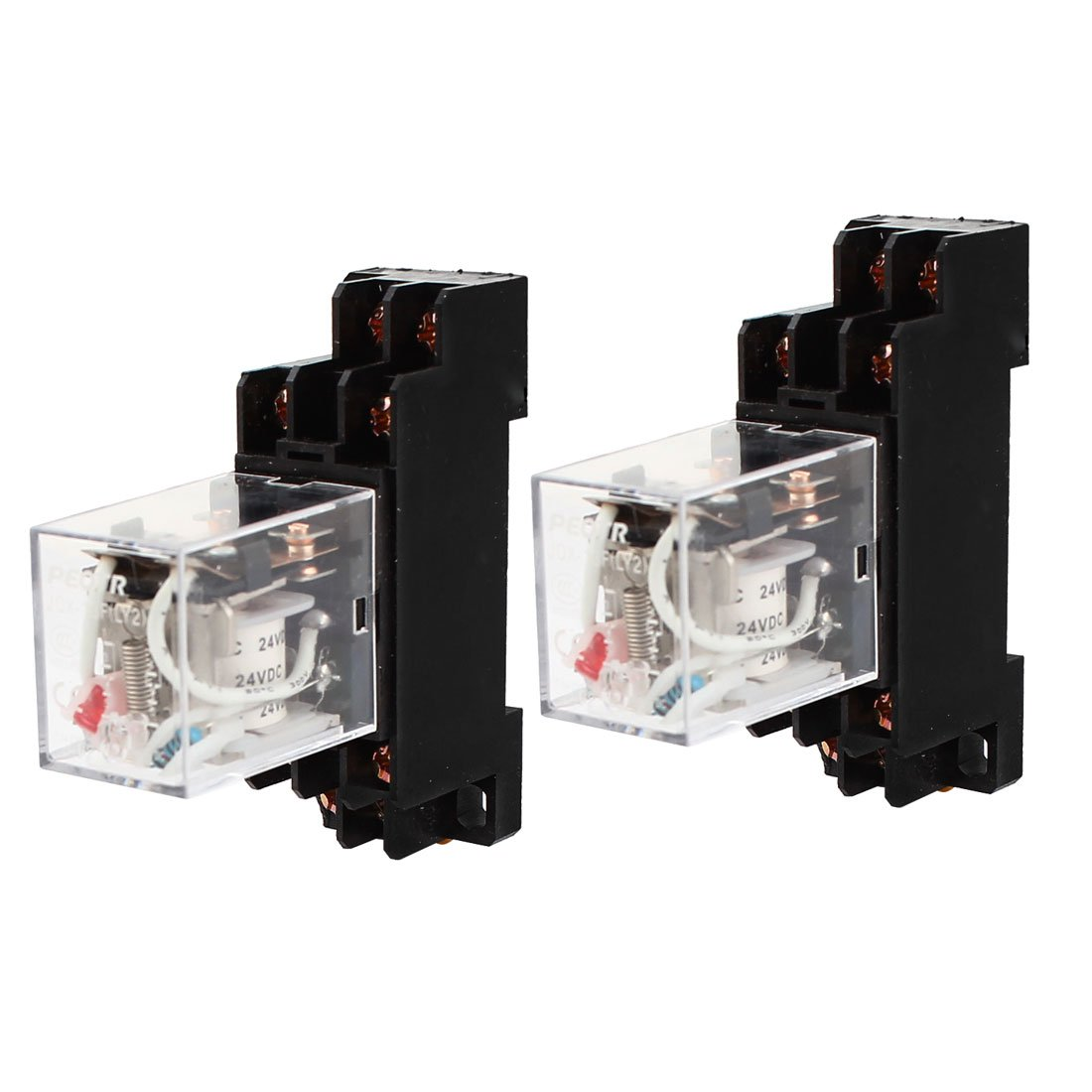 Uxcell a14122000ux0207 Coil Power Relay DPDT DIN Rail Mounted JQX-13F with Socket, 2 Piece, DC 24V, 8 Pin, 35 mm