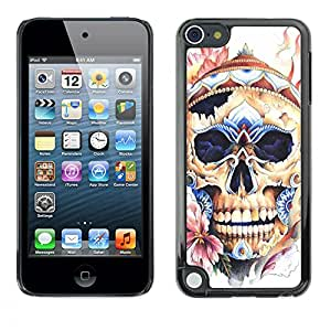 A-type Colorful Printed Hard Protective Back Case Cover Shell Skin for Apple iPod Touch 5 ( Skull Hat Floral Spring Bones Death )