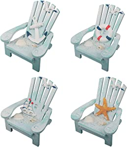4 Pack Wooden Handmade Mini Chair Ornament Beach Decor Nautical Decoration for Dollhouse Bathroom Bedroom Decor Home Decor Article Home Office Desk, 4 x 3.75 x 3.75 inches (Light Blue)