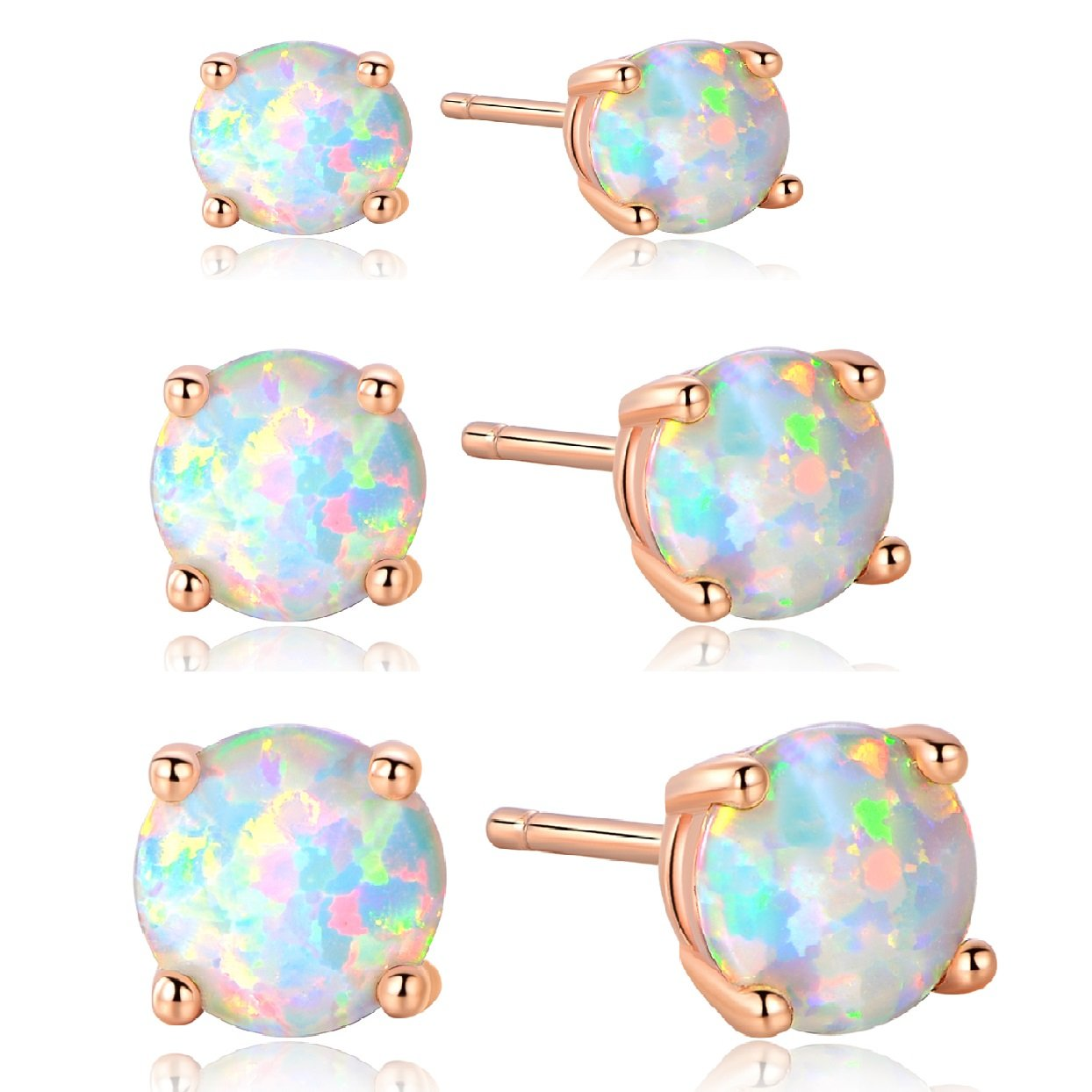 GEMSME 18K Rose Gold Plated 3/5/7mm Round Opal Stud Earrings Pack of 3