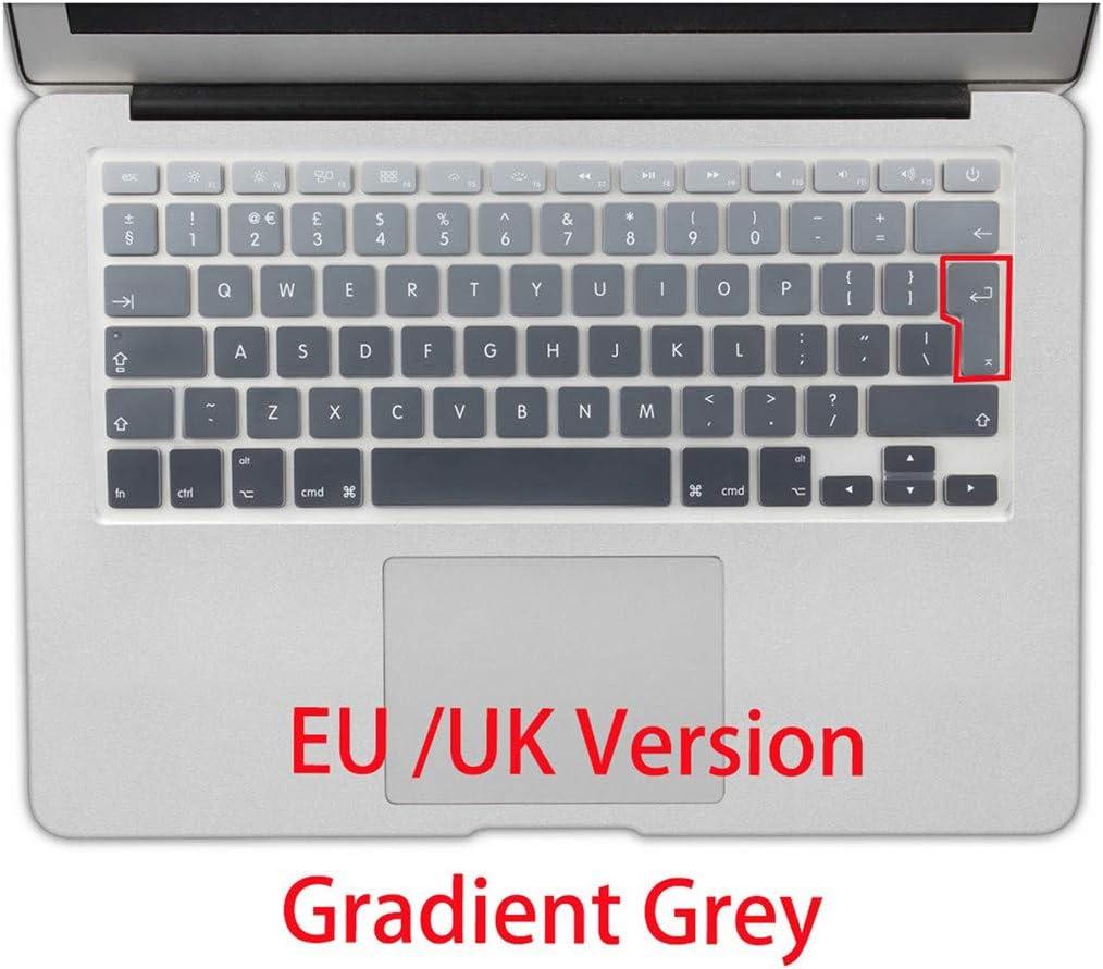 EU//UK Layout Gradient Colors Spain Russia Keyboard Cover Silicone Sticker Skin for MacBook Pro 13 15 Retina Mac Air 13 A1466,Ru Pink