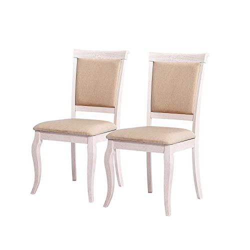 Furgle Set of 2 Dining Side Chair Oak Wood Modern Kitchen Dining Chair, Back and Seat with Microfiber Upholstered and High-Density Sponge
