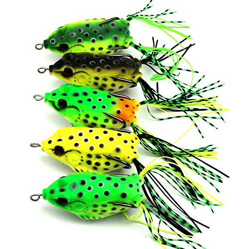 Maoko 5pcs Soft Plastic Frog Bait Lures for Bass,Pike and Gamefish - Frog Poison Draw