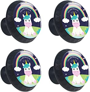 Drawer Knob 3D Printed Unicorn Cabinet Knob Pull Handle Cupboard Knobs Cabinet Round Furniture Furniture Handle Hardware Knobs with Screws for Home Kitchen Office Dresser Wardrobe Decorate 4pcs