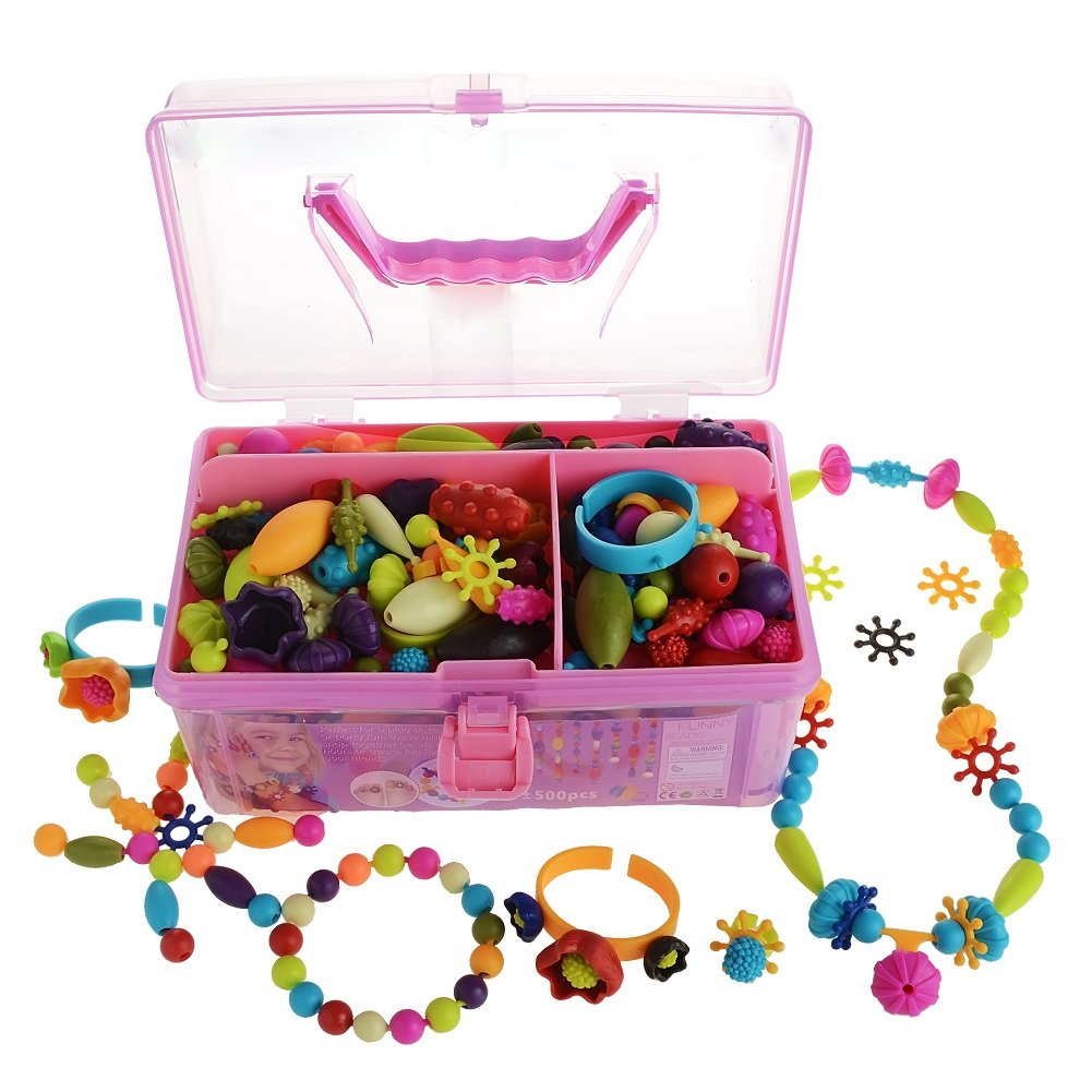 Gili Pop Beads, Arts and Crafts Toys Gifts for Kids Age 4yr-8yr, Jewelry Making Kit for 4, 5, 6, 7 Year Old Girls, Necklace and Bracelet and Ring Creativity DIY Set (500 PCS)