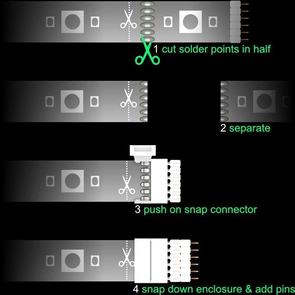 Paquete de 4 para Philips Matiz Lightstrip Plus Hombre Paquete de 4 Cierre Conector Tira y Pin